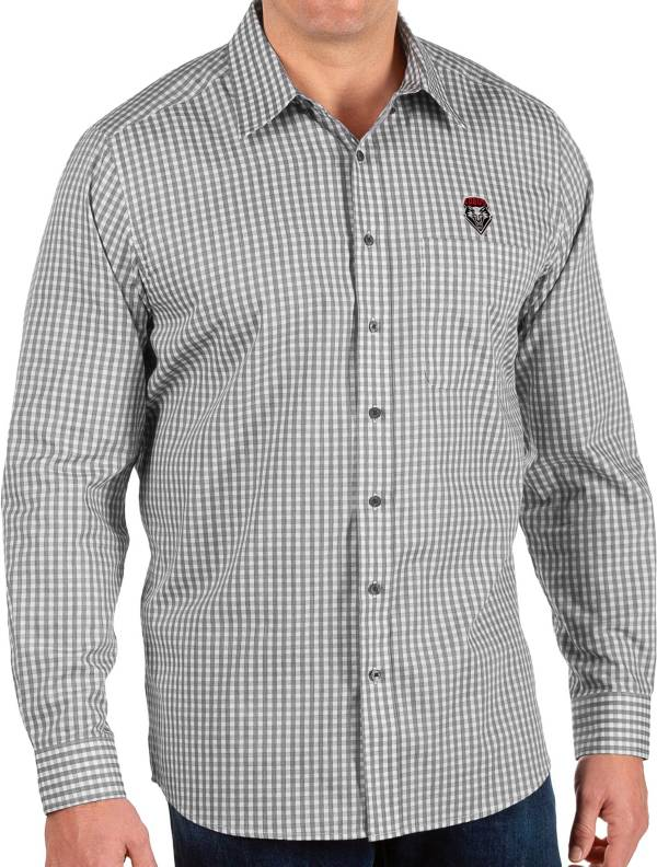 Antigua Men's New Mexico Lobos Structure Button Down Long Sleeve Black Shirt product image