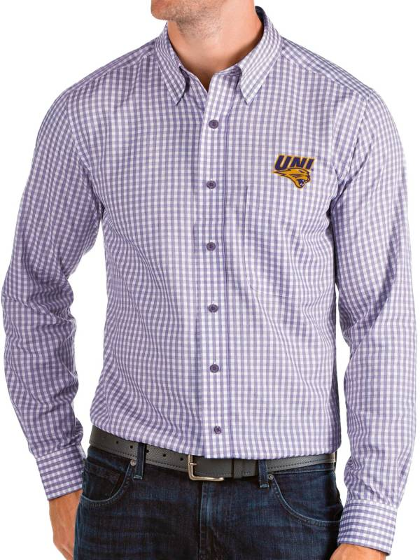 Antigua Men's Northern Iowa Panthers  Purple Structure Button Down Long Sleeve Shirt product image