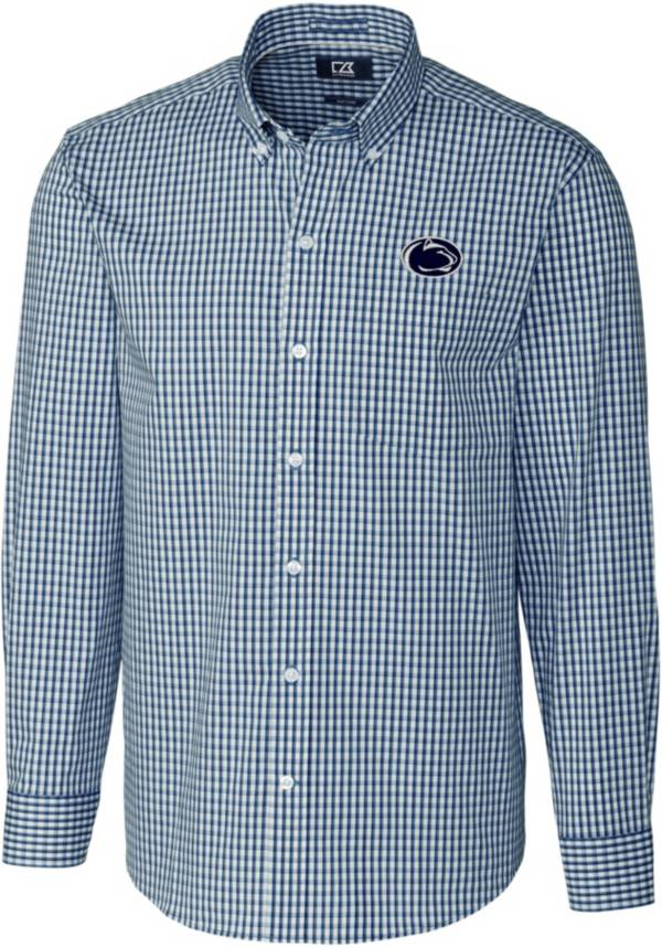 Cutter & Buck Men's Penn State Nittany Lions Blue Stretch Gingham Long Sleeve Button Down Shirt product image