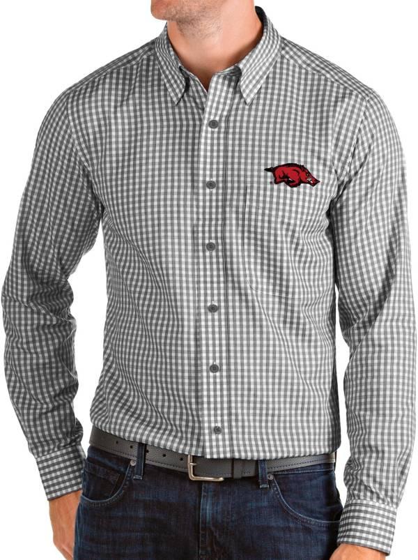 Antigua Men's Arkansas Razorbacks Structure Button Down Long Sleeve Black Shirt product image