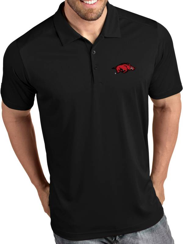 Antigua Men's Arkansas Razorbacks Tribute Performance Black Polo product image