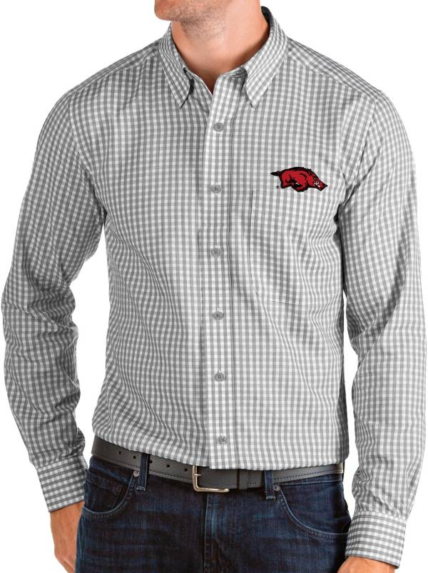 Antigua Men's Arkansas Razorbacks Grey Structure Button Down Long Sleeve Shirt product image