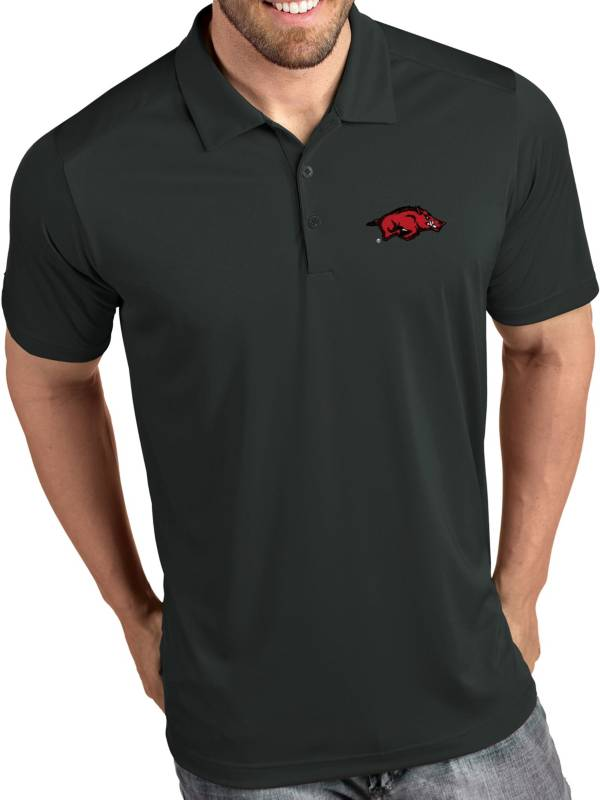Antigua Men's Arkansas Razorbacks Grey Tribute Performance Polo product image
