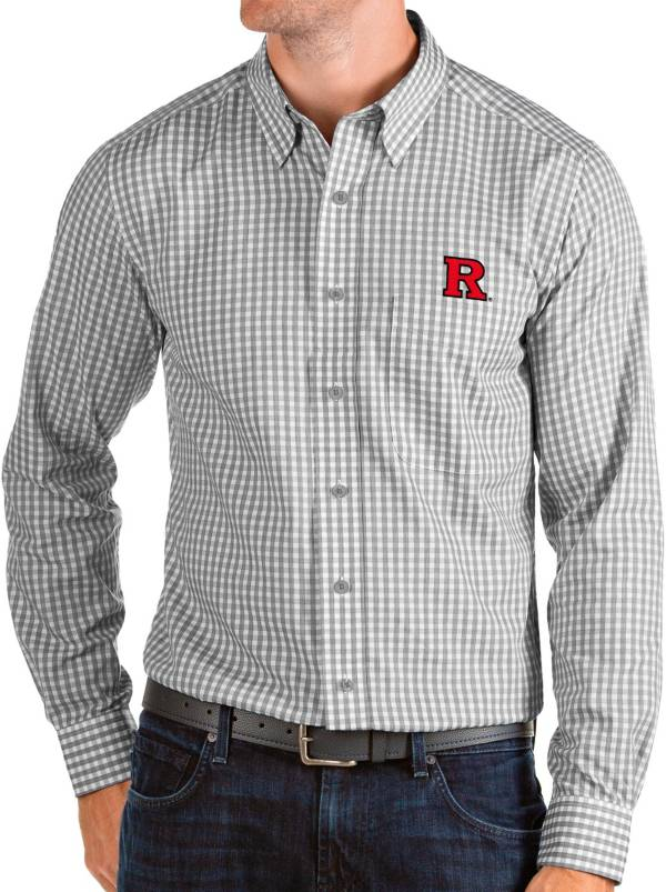 Antigua Men's Rutgers Scarlet Knights Grey Structure Button Down Long Sleeve Shirt product image