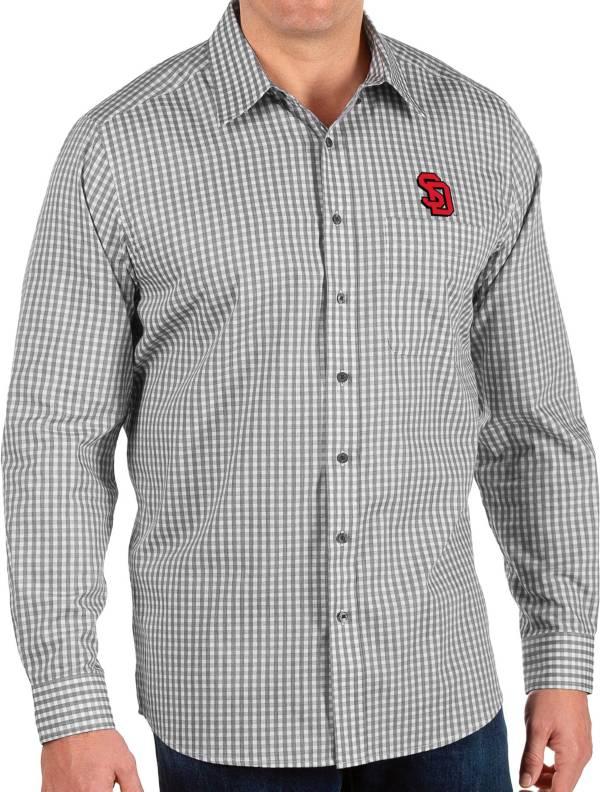 Antigua Men's South Dakota Coyotes Structure Button Down Long Sleeve Black Shirt product image