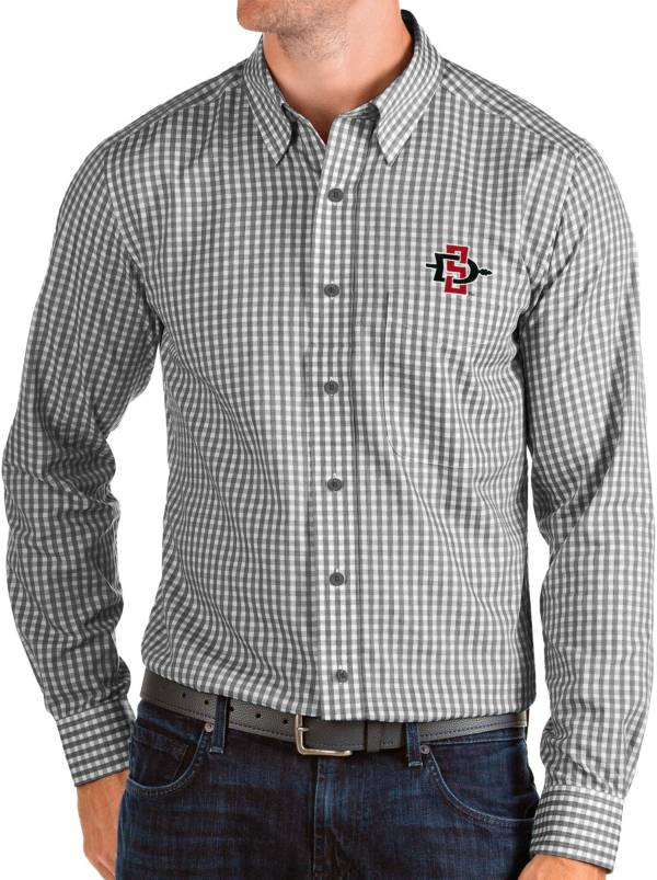 Antigua Men's San Diego State Aztecs Structure Button Down Long Sleeve Black Shirt product image