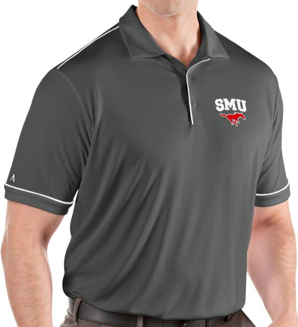 Antigua Men's Southern Methodist Mustangs Grey Salute Performance Polo product image