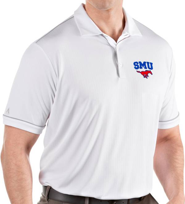 Antigua Men's Southern Methodist Mustangs Salute Performance White Polo product image