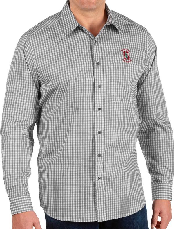 Antigua Men's Stanford Cardinal Structure Button Down Long Sleeve Black Shirt product image