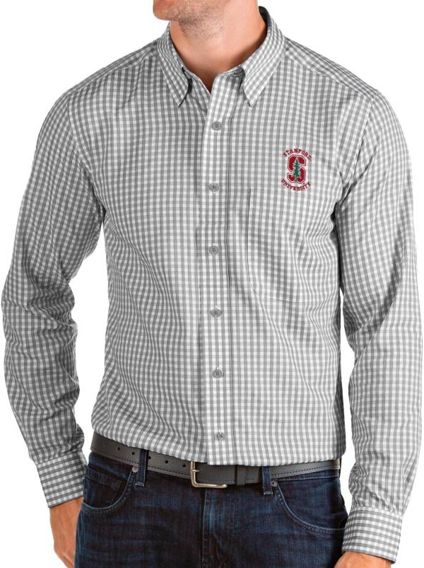 Antigua Men's Stanford Cardinal Grey Structure Button Down Long Sleeve Shirt product image