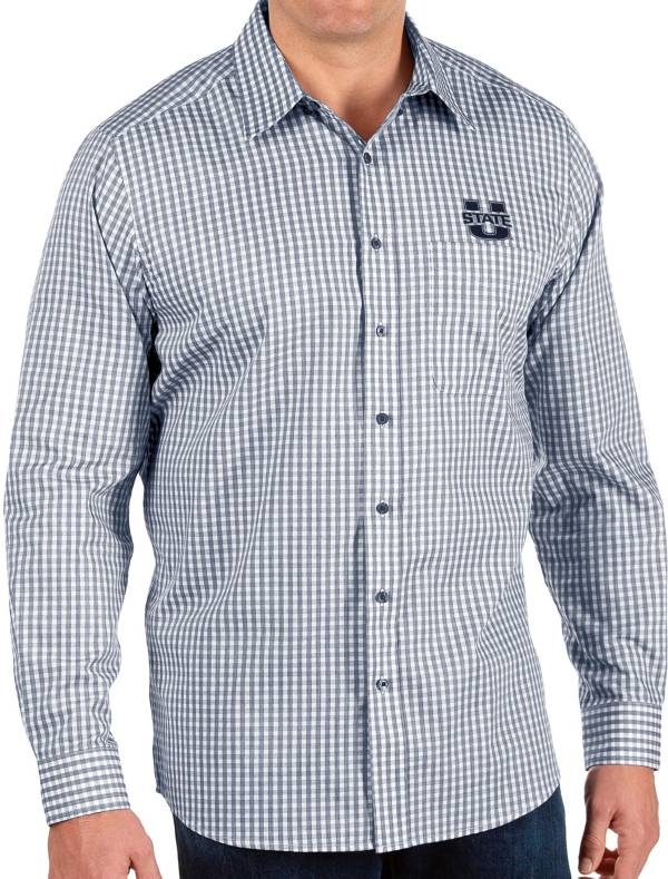 Antigua Men's Utah State Aggies Blue Structure Button Down Long Sleeve Shirt product image