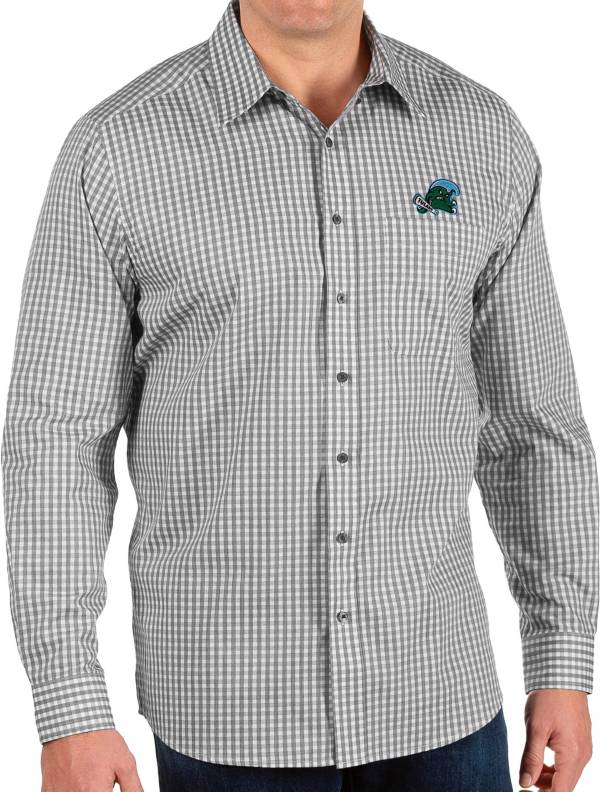 Antigua Men's Tulane Green Wave Structure Button Down Long Sleeve Black Shirt product image
