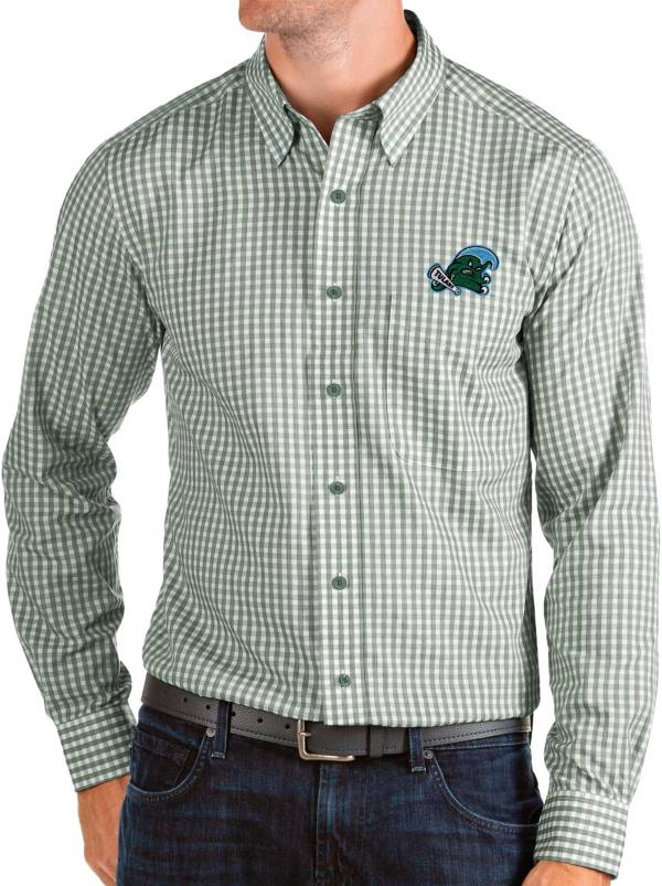 Antigua Men's Tulane Green Wave Olive Structure Button Down Long Sleeve Shirt product image
