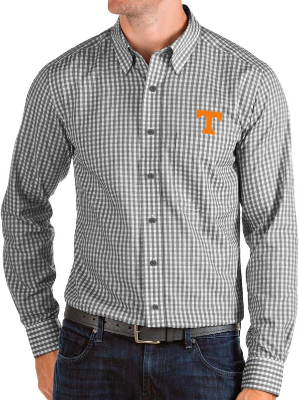 Antigua Men's Tennessee Volunteers Structure Button Down Long Sleeve Black Shirt product image
