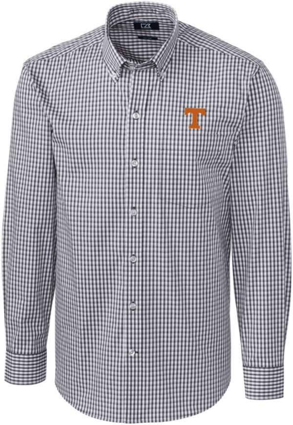 Cutter & Buck Men's Tennessee Volunteers Grey Stretch Gingham Long Sleeve Button Down Shirt product image