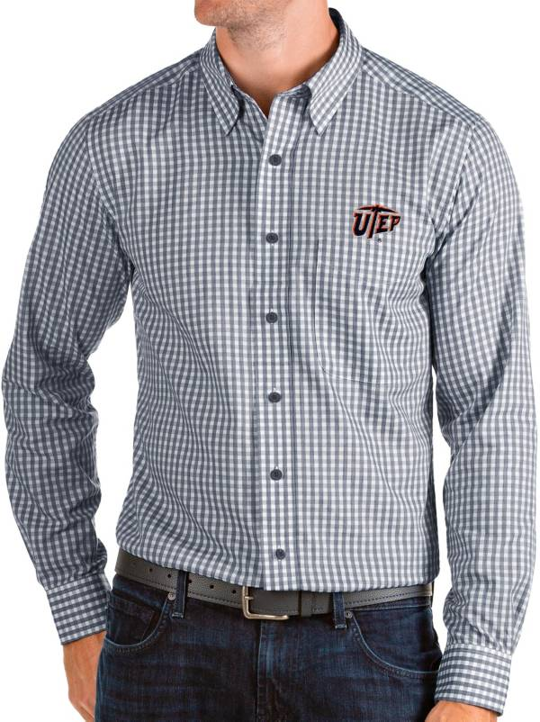 Antigua Men's UTEP Miners Navy Structure Button Down Long Sleeve Shirt product image
