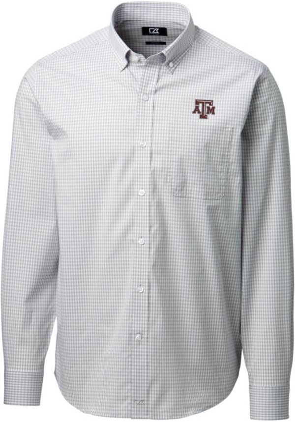 Cutter & Buck Men's Texas A&M Aggies Grey Anchor Gingham Long Sleeve Button Down Shirt product image