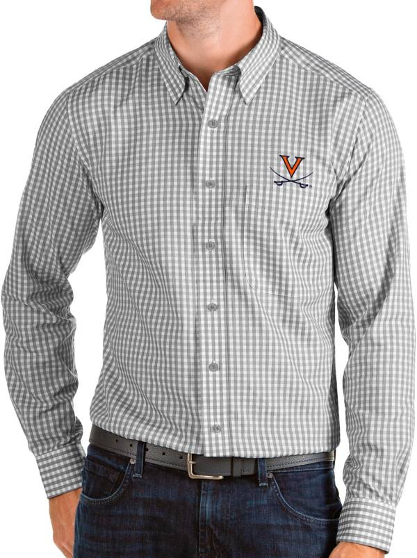 Antigua Men's Virginia Cavaliers Grey Structure Button Down Long Sleeve Shirt product image