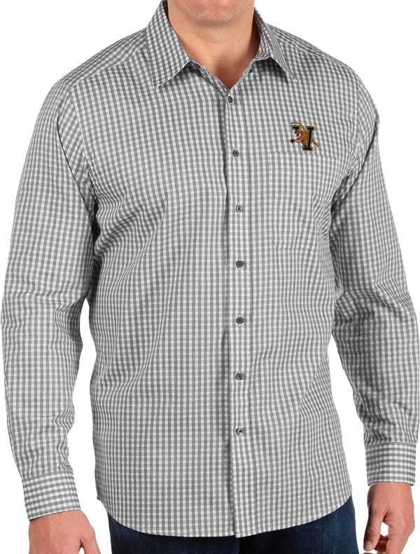 Antigua Men's Vermont Catamounts Structure Button Down Long Sleeve Black Shirt product image