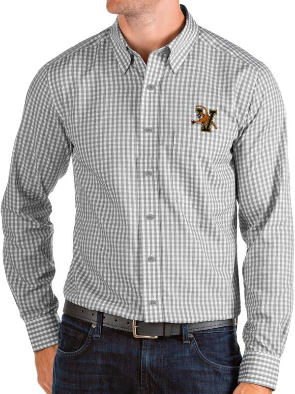 Antigua Men's Vermont Catamounts Grey Structure Button Down Long Sleeve Shirt product image