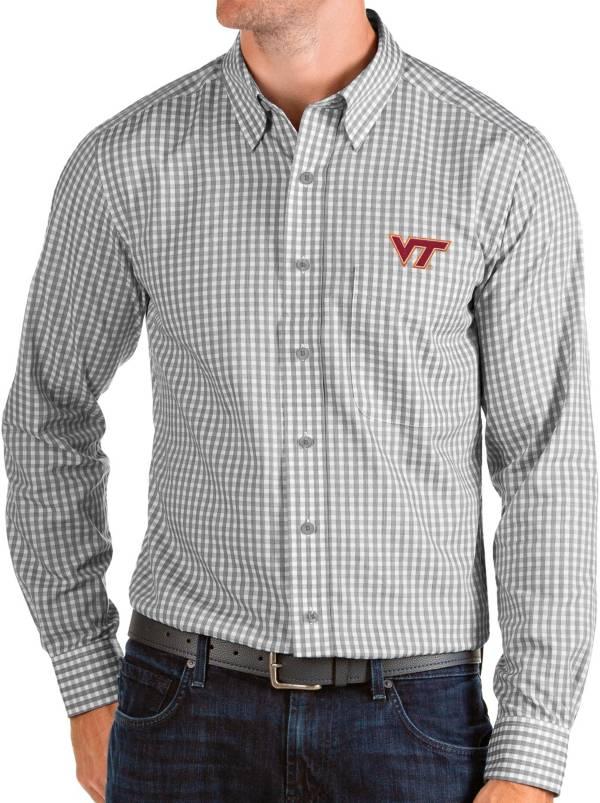 Antigua Men's Virginia Tech Hokies Grey Structure Button Down Long Sleeve Shirt product image