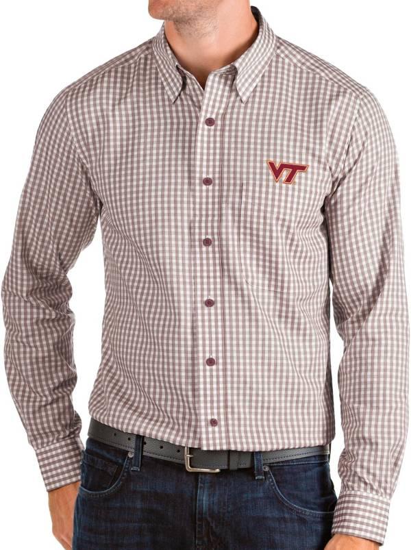 Antigua Men's Virginia Tech Hokies Maroon Structure Button Down Long Sleeve Shirt product image
