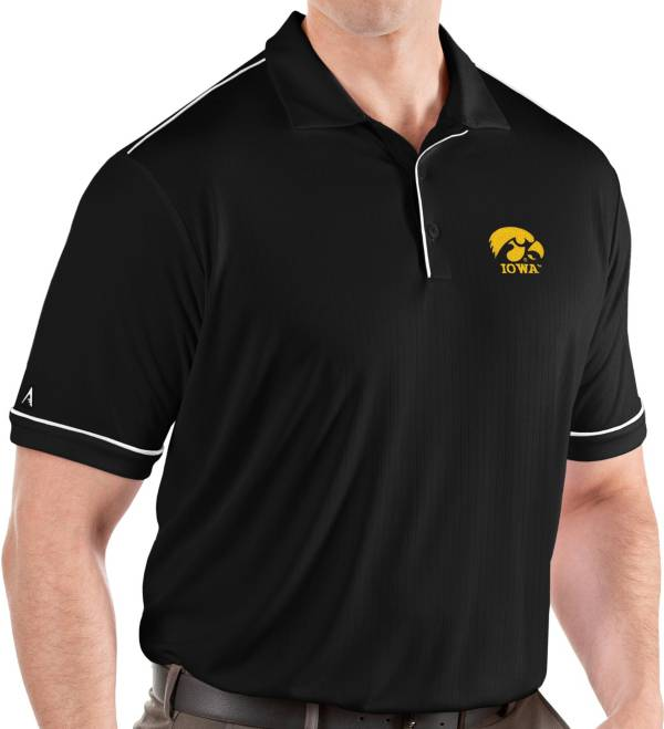 Antigua Men's Iowa Hawkeyes Salute Performance Black Polo product image