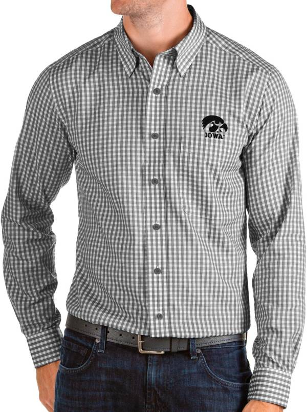 Antigua Men's Iowa Hawkeyes Structure Button Down Long Sleeve Black Shirt product image