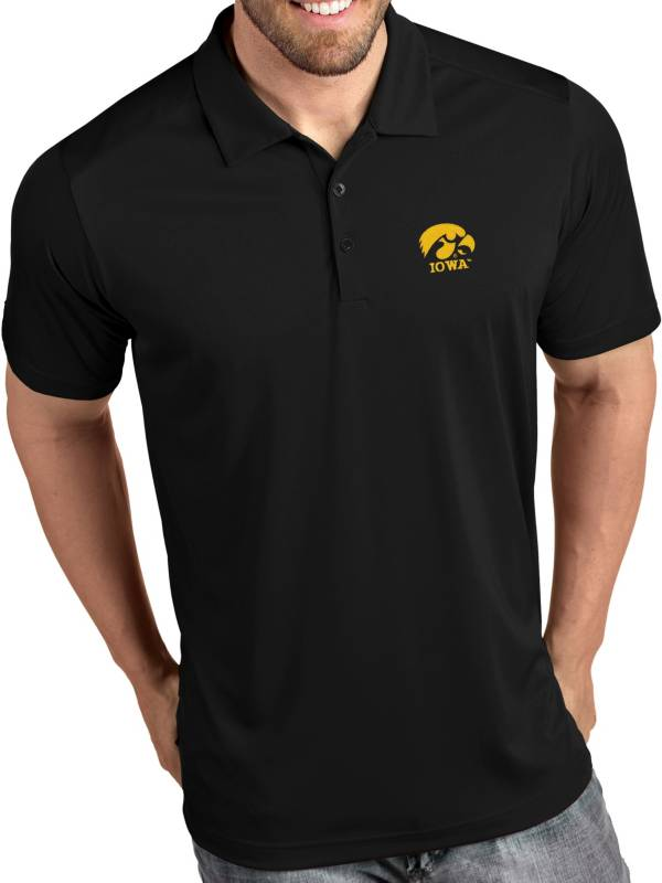 Antigua Men's Iowa Hawkeyes Tribute Performance Black Polo product image