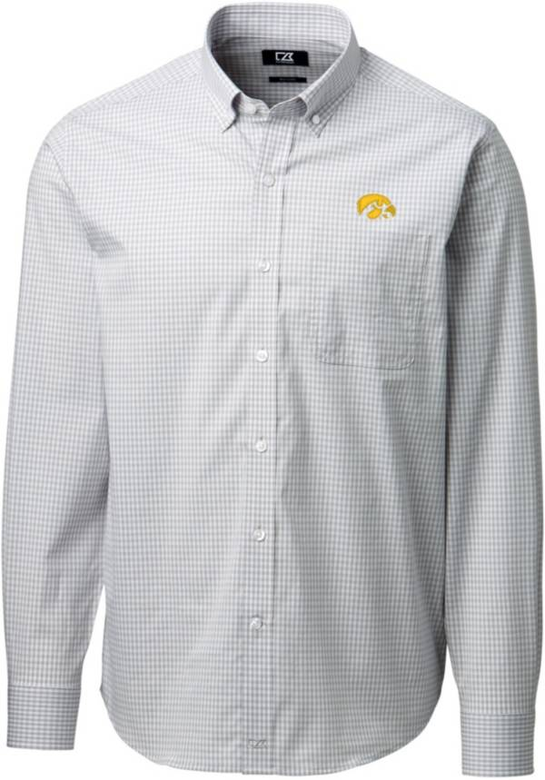 Cutter & Buck Men's Iowa Hawkeyes Grey Anchor Gingham Long Sleeve Button Down Shirt product image
