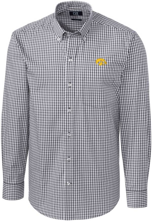 Cutter & Buck Men's Iowa Hawkeyes Grey Stretch Gingham Long Sleeve Button Down Shirt product image