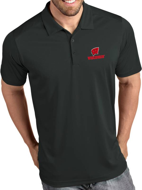 Antigua Men's Wisconsin Badgers Grey Tribute Performance Polo product image
