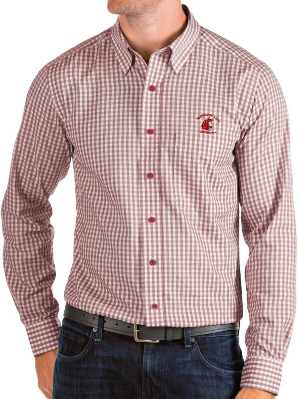 Antigua Men's Washington State Cougars Crimson Structure Button Down Long Sleeve Shirt product image