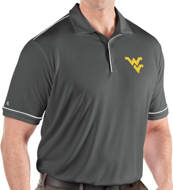 Antigua Men's West Virginia Mountaineers Grey Salute Performance Polo product image