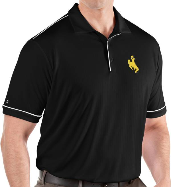 Antigua Men's Wyoming Cowboys Salute Performance Black Polo product image