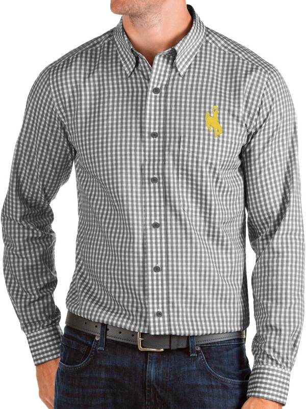 Antigua Men's Wyoming Cowboys Structure Button Down Long Sleeve Black Shirt product image