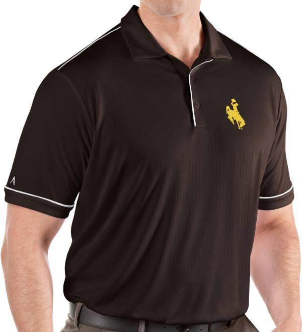 Antigua Men's Wyoming Cowboys Brown Salute Performance Polo product image