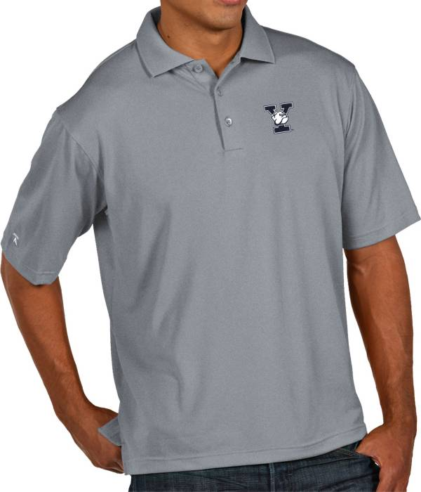 Antigua Men's Yale Bulldogs Grey Pique Xtra-Lite Polo product image