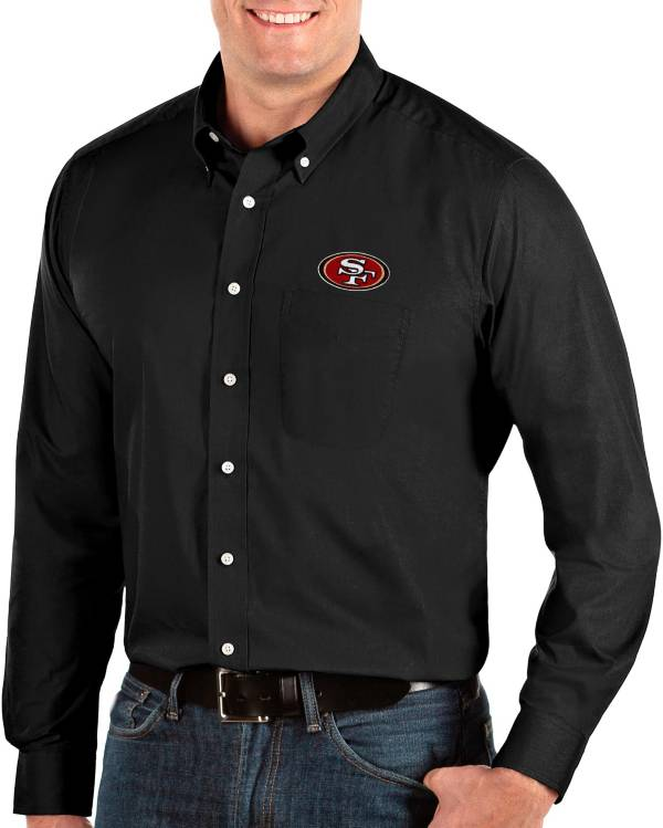 Antigua Men's San Francisco 49ers Dynasty Button Down Black Dress Shirt product image