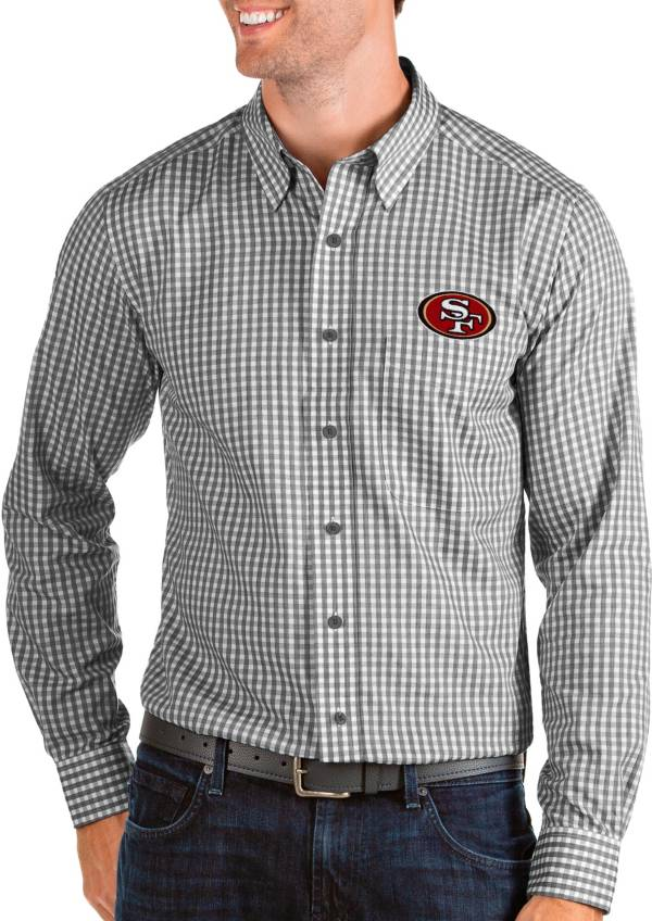 Antigua Men's San Francisco 49ers Structure Button Down Black Dress Shirt product image