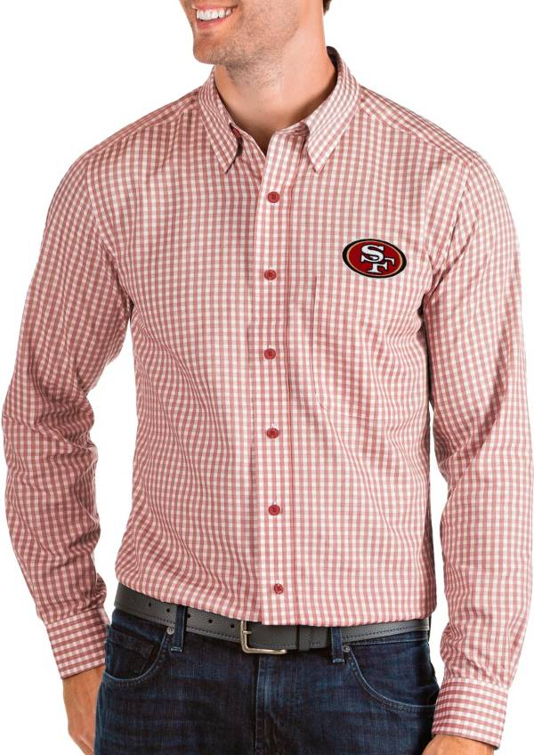Antigua Men's San Francisco 49ers Structure Button Down Red Dress Shirt product image