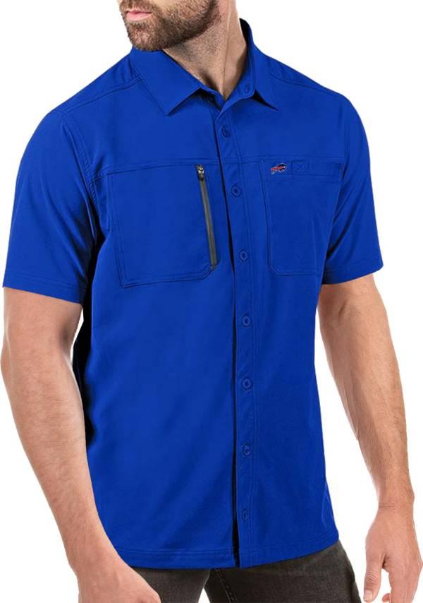 Antigua Men's Buffalo Bills Kickoff Woven Royal Collared T-Shirt product image
