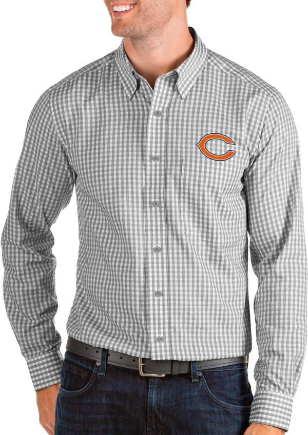 Antigua Men's Chicago Bears Structure Button Down Grey Dress Shirt product image