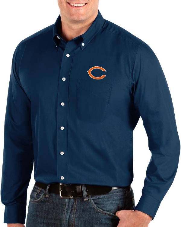 Antigua Men's Chicago Bears Dynasty Button Down Navy Dress Shirt product image