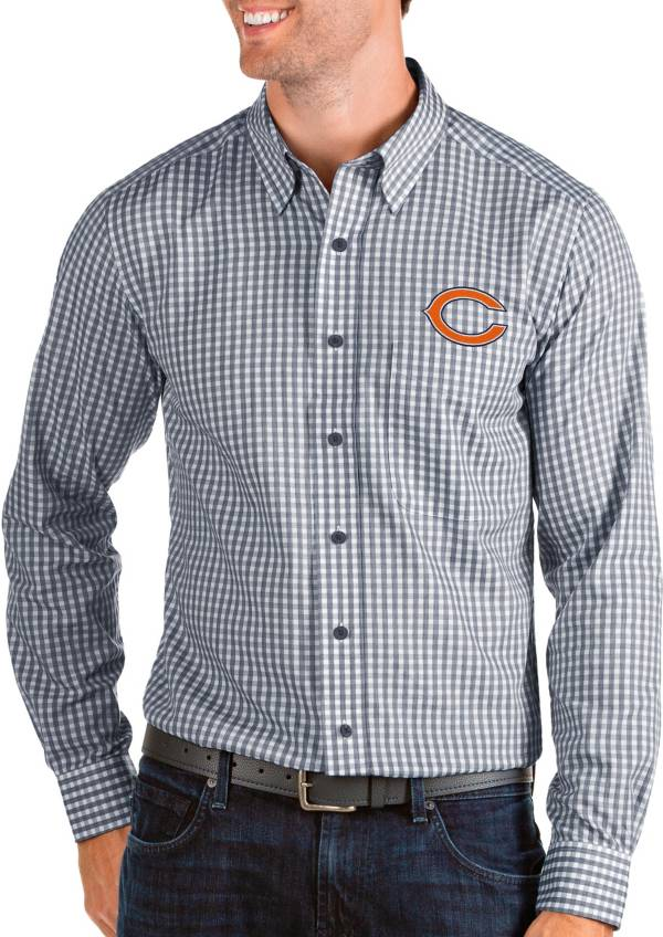 Antigua Men's Chicago Bears Structure Button Down Navy Dress Shirt product image