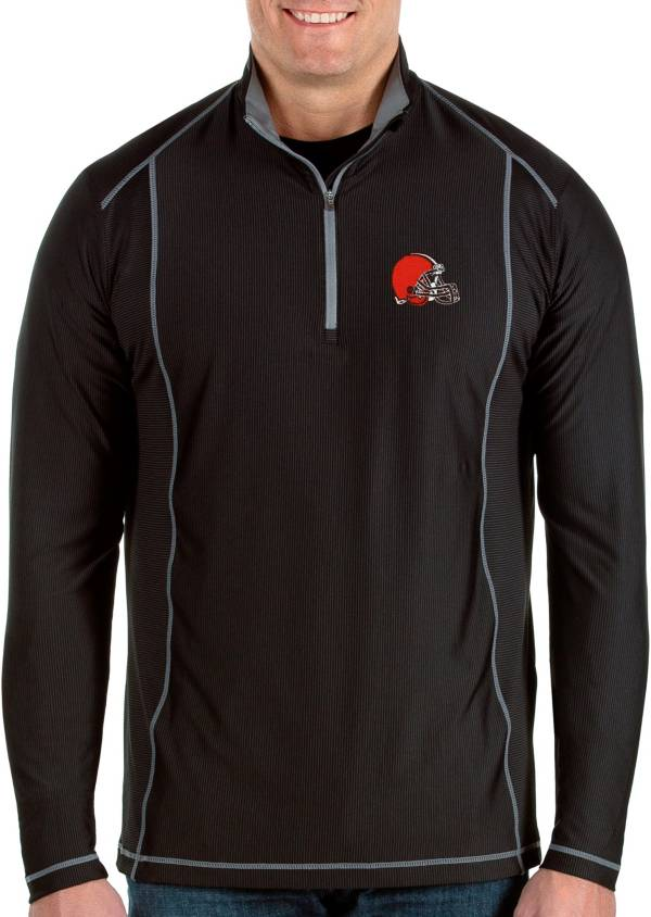 Antigua Men's Cleveland Browns Tempo Black Quarter-Zip Pullover product image