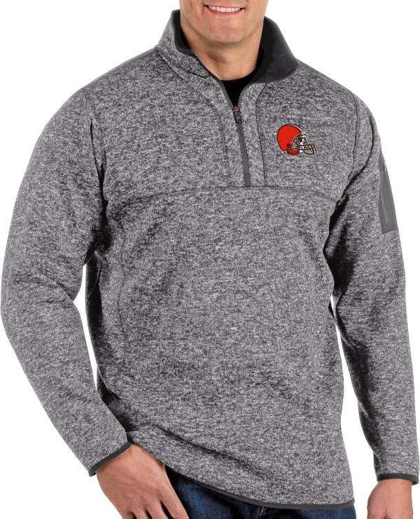 Antigua Men's Cleveland Browns Fortune Grey Quarter-Zip Pullover product image
