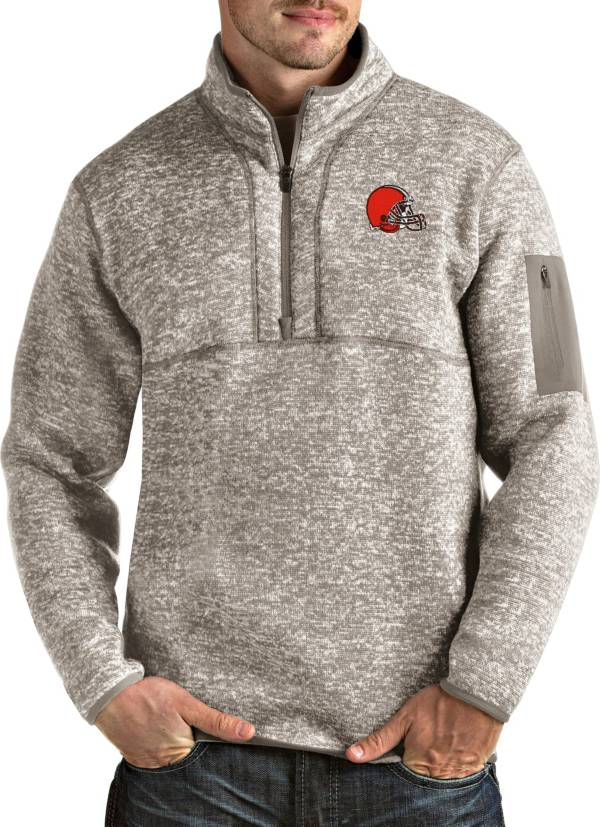 Antigua Men's Cleveland Browns Fortune Quarter-Zip Oatmeal Pullover product image