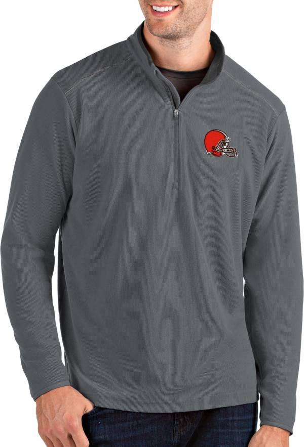 Antigua Men's Cleveland Browns Glacier Grey Quarter-Zip Pullover product image