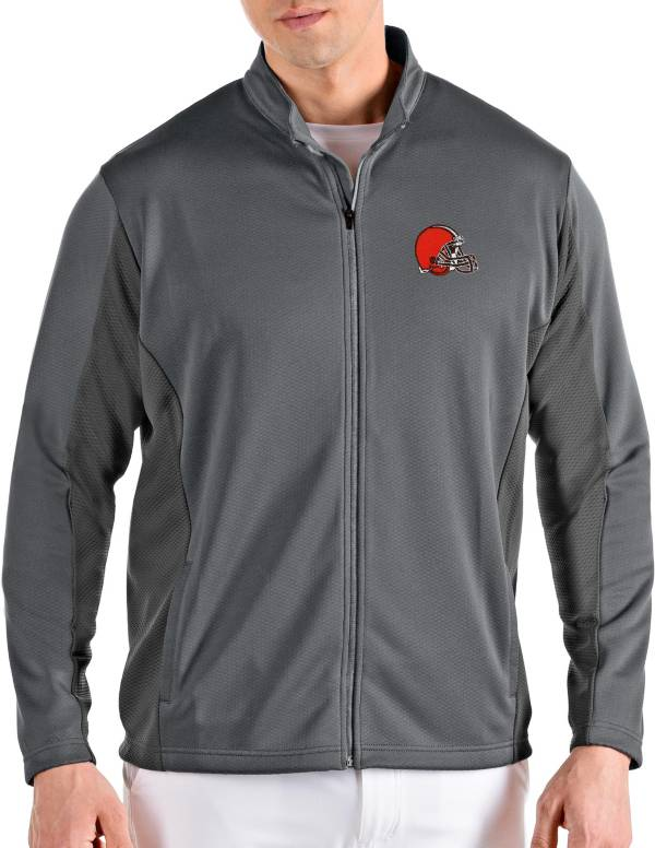 Antigua Men's Cleveland Browns Passage Grey Full-Zip Jacket product image